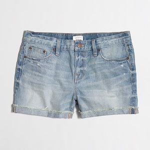 J. Crew Factory Blue Denim Jean Cuffed Shorts